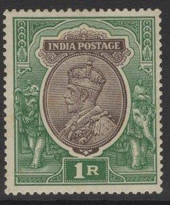 INDIA SG185 1913 1r RED-BROWN & DEEP BLUE-GREEN MTD MINT