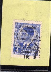 MONTENEGRO 1943 OCCUPAZIONE TEDESCA SOPRASTAMPATI 20L SU 4D TIMBRATO