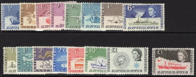 BRITISH ANTARCTIC TERR. SG1/15a 1963-9 DEFINITIVE SET SHIPS MNH