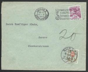 SWITZERLAND 1937 cover Luzern to Sursee - 20c postage due..................58375