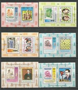 CUBA Sc# 3049-3054 CHESS Capablanca  CPL SET of 6   MINI-SHEETS  1988  MNH mint
