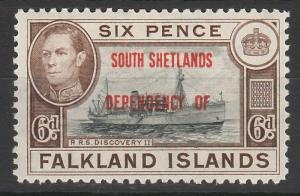SOUTH SHETLANDS 1944 KGVI SHIP 6D