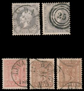 NORWAY 1856-1867 EARLY CLASSICS USED #3 15 & 10 doubles of 3 and 10 with diff...