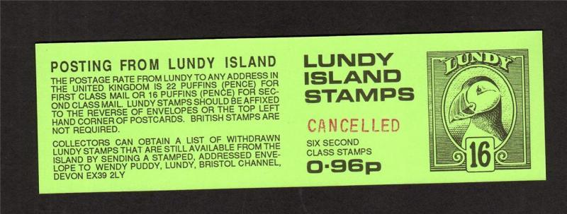 LUNDY: 96p BOOKLET COVER UNFOLDED HANDSTAMPED 'CANCELLED'