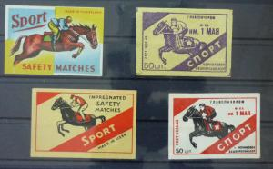 Match Box Labels ! sport horse racing race GN78