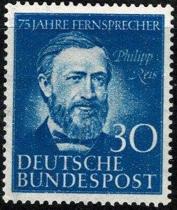 GERMANY 1952 75th ANNI. GERMAN TELEPHONE MINT (NH) SG1087 Wmk. 258a P.14 SUPERB