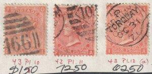 GREAT BRITAIN SC 43 PLATES 10, 11, 12 USED SOUND $285 SCV