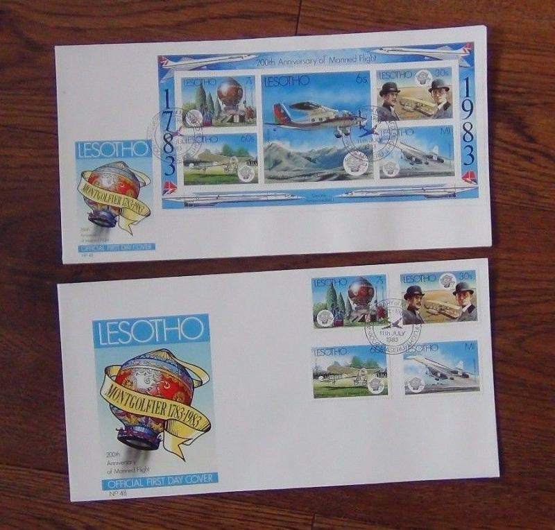 Lesotho 1983 Manned Flight set Miniature Sheet on First Day Cover (2 Covers)