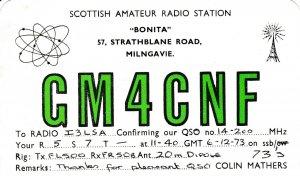 7414 Amateur Radio QSL Card  MILNGAVIE SCOTLAND