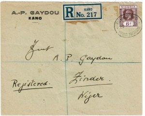 Nigeria 1931 Kano cancel on registered cover to Zinder, NIGER