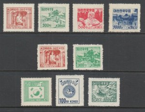 Korea Sc 183-186B, 187D-189 MLH. 1952-53 issues, 2 complete sets, VLH