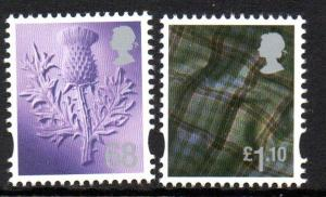 Great Britain Scotland Sc 38-9 2010 68p thistle  £1.10 tartan stamp set mint NH
