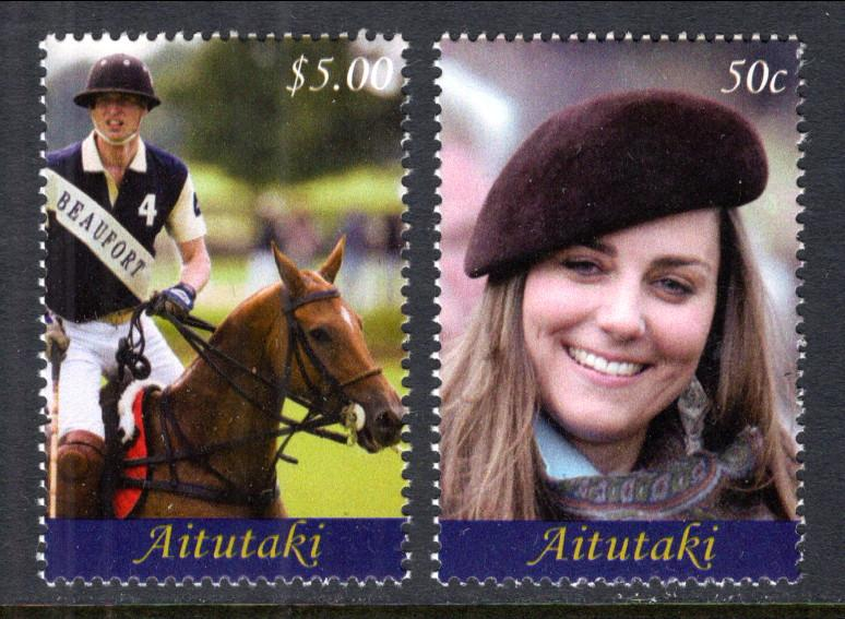 Aitutaki MNH 562-3 Royal Engagement William & Kate SCV 8.50