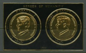 MANAMA  JOHN &  ROBERT F. KENNEDY MEMORIAL GOLD COIN STAMP SHEET MINT NH