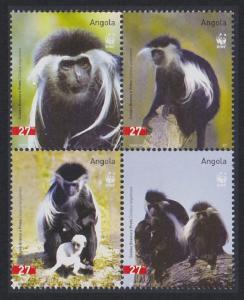 Angola WWF Black-and-white Colobus 4v in block 2*2 SG#1717-1720 MI#1745-1748