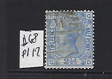 GREAT BRITAIN SCOTT #68 (PLATE 17) 1875 2 1/2 (ULTRA) ) - WMK 29 - USED