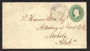 **US 19th Century Postal Statioery Cover, Duquoin, IL 11/8 CDS to Alabama