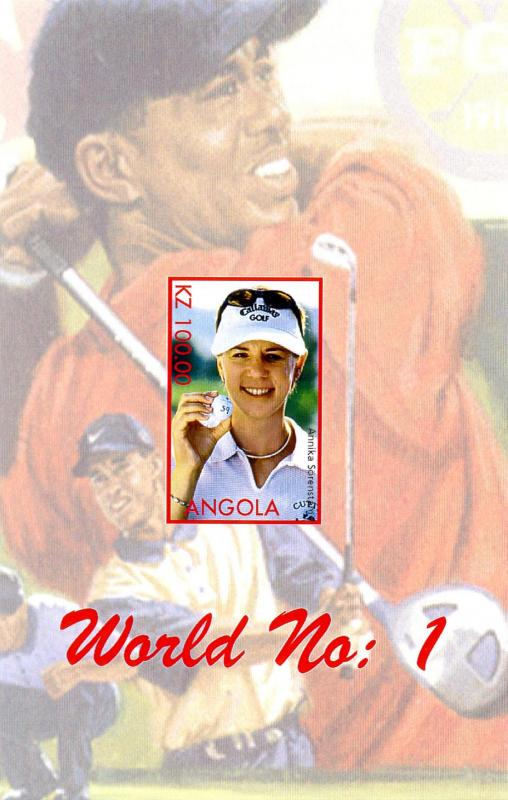 ANGOLA SHEET IMPERF TIGER WOODS GOLF TENNIS
