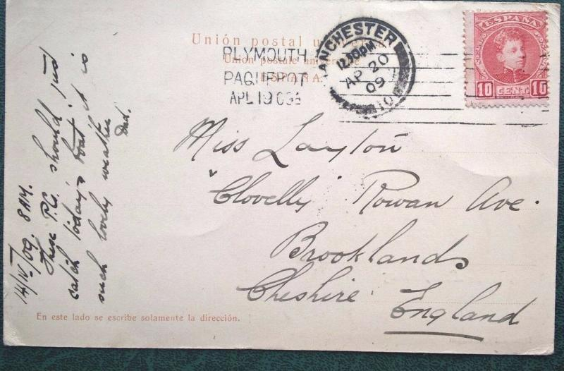 Spain 1909 PPC Las Palmas PLYMOUTH PAQUEBOT Manchester Brooklands FreeUK Postage