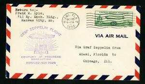 US Stamps # C18 Superb Flight Cover From Miami To Chicago