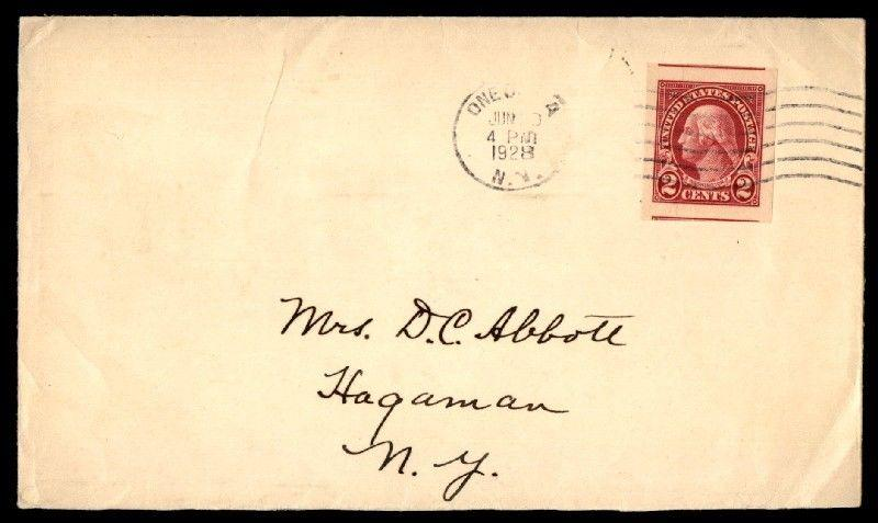 ONEONTA NY JUN 1828 SINGLE FRANKED COVER TO HAGAMAN W/ IMPERF SINGLE