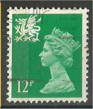 GREAT BRITAIN, WALES, Machins, 1984, used 12p brt green, Scott WMMH18