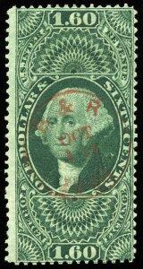 v8 U.S. Revenue Scott #R79c $1.60 Foreign Exchange, red handstamp cancel CV=$180