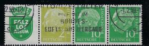 Germany Bund Scott # 702, 708 (2), label R5, used, se-tenant, W10