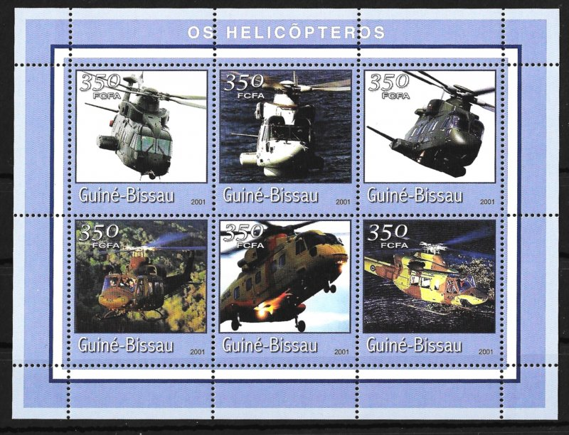 Guinea-Bissau MNH S/S Helicopters 2001 6 Stamps