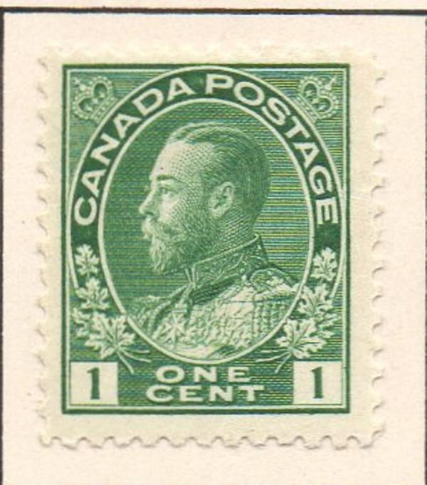 Canada Sc 104 1911 1 c green GV Admiral issue stamp mint