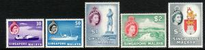 1955 Singapore Malaya QE Queen Elizabeth complete *MNH set of (15) Sc#  28 / 42