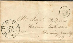 US Stampless Cover Muncy PA July 28 1847 + Letter