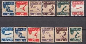J27560 1946 romania set mh + imperfs #628-31,b340,c26,cb6 sports + imperf set