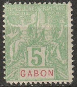 Gabon 1904 Sc 19 Yt 19 MH* small corner thin