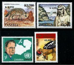 HERRICKSTAMP ZAMBIA Sc.# 1111-14 Rare Overprints