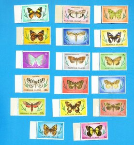 NORFOLK ISLANDS - Scott 201-217 - VFMNH but stains on some - moth, butterfly set