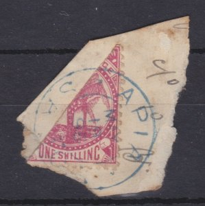 BC598) Samoa 1886 1/- Bisect on piece, SG25a, correctly cancelled in blue
