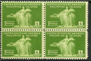 US PHILIPPINES 1935 4c Woman and Carabao Pictorial Issue BLOCK OF 4 Sc 384 NH/LH