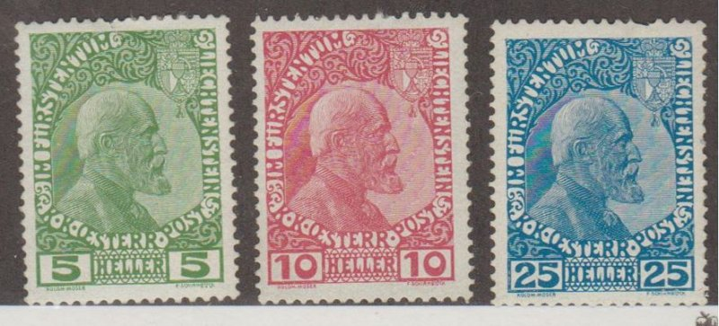 Liechtenstein Scott #1-2-3 Stamps - Mint Set