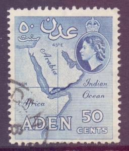 Aden Scott 53 - SG58, 1954 Elizabeth II 50c used