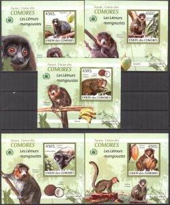 {096} Comoros 2009 Lemurs Monkeys 5 S/S Deluxe MNH**