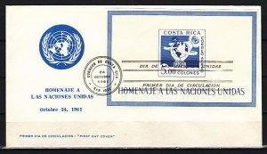 Costa Rica, Scott cat. C329. U.N. Organizations s/sheet. First day cover. ^