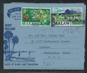 MALAWI (P1910B) 1965 DECORATIVE FORMULA AEROGRAM 6D+9D TO USA