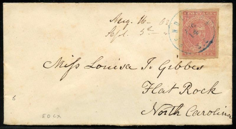 CSA #5 ON COVER PENDLETON, SC BLUE CANCEL TO FLATROCK, NC XF+ WLM4272