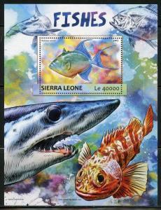 SIERRA LEONE 2017   FISHES  SOUVENIR SHEET MINT NH