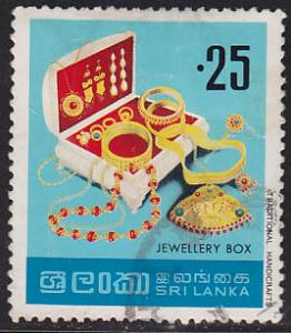 Sri Lanka 523 Used 1977 Jewelry Box & Jewelry