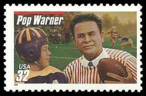 PCBstamps     US #3149 32c Glenn Pop Warner, extra red line, 1997, MNH, (8)