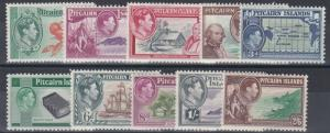 PITCAIRN ISLANDS 1940 - 51   SET OF 10  MH  CAT £75
