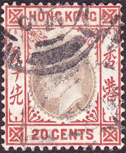 HONG KONG 1904 KEDVII 20c Slate & Chestnut SG83-FU