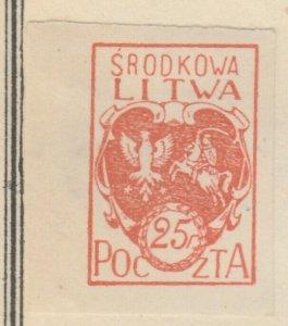 Central Lithuania Mittellitauen Lituanie Lituania 1920 25f MH* A8P11F130